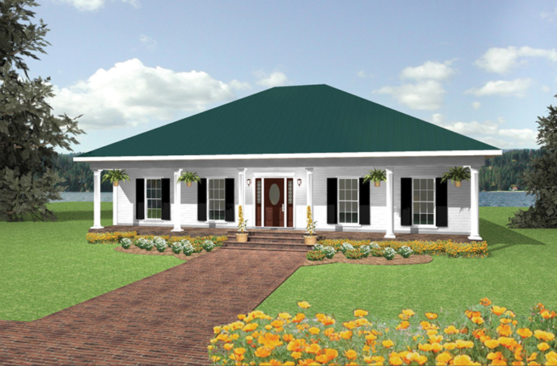Ranch House Plan Front of Home 028D-0007
