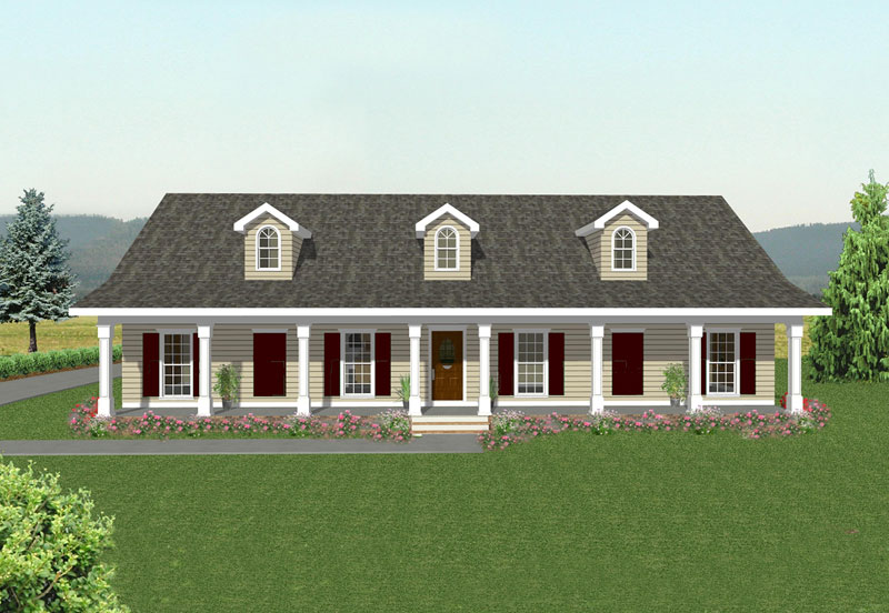 Ranch House Plan Front of Home 028D-0009