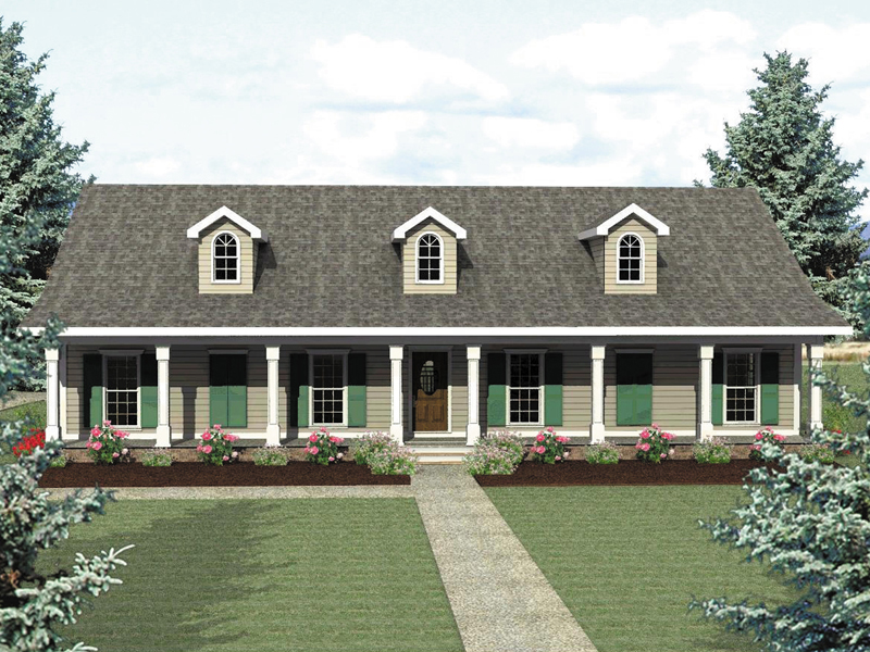 Ranch House Plan Front of Home 028D-0013