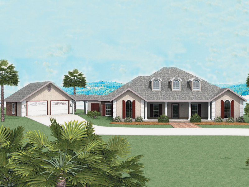 Ranch House Plan Front of Home 028D-0015