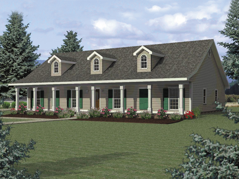 Ranch House Plan Front of Home 028D-0016