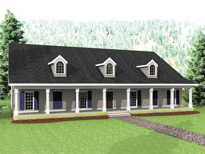 Ranch House Plan Front of Home 028D-0022