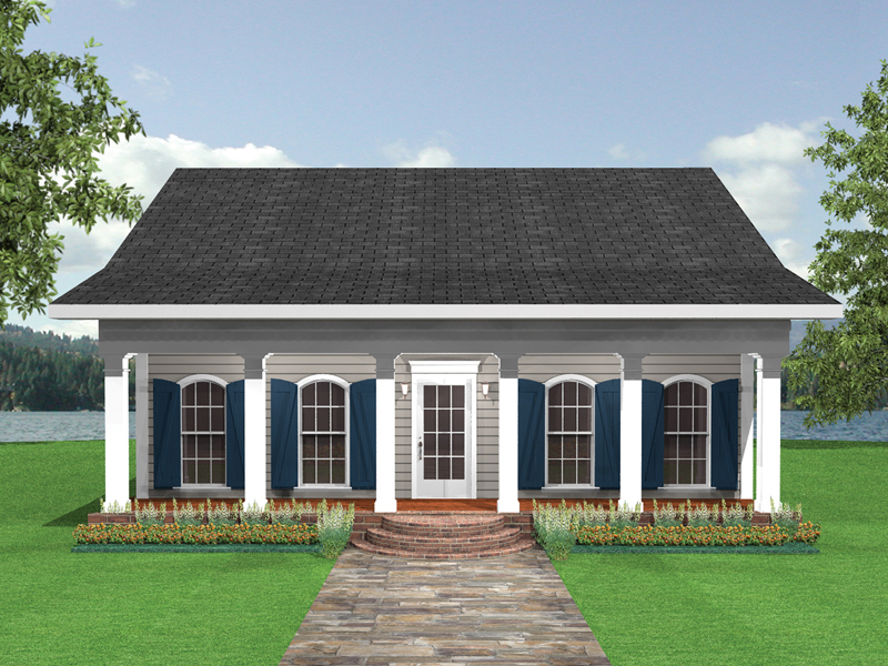 Vacation Home Plan Front of Home 028D-0023