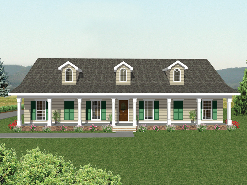 Ranch House Plan Front of Home 028D-0027