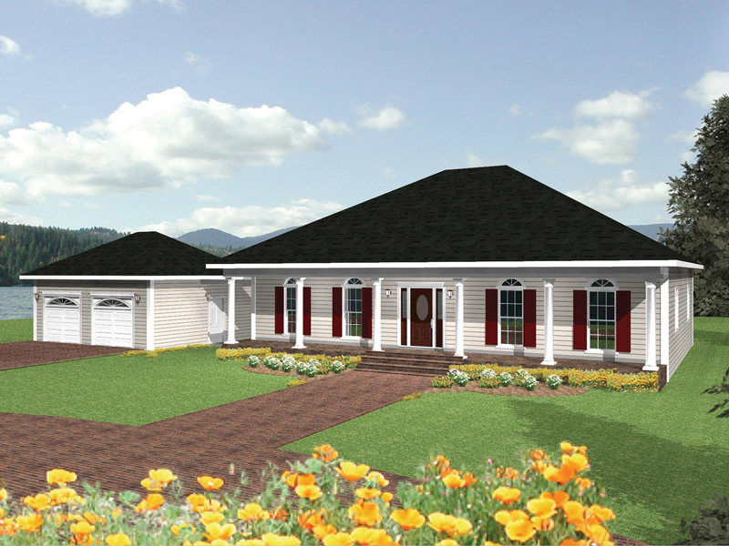 Ranch House Plan Front of Home 028D-0028