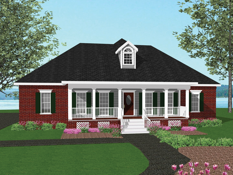Ranch House Plan Front of Home 028D-0031
