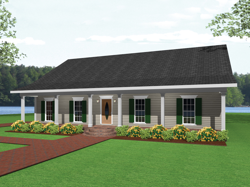 Ranch House Plan Front of Home 028D-0036