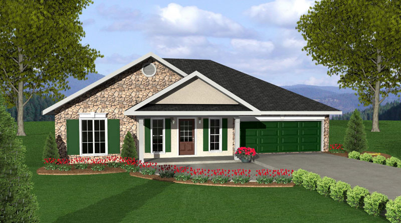 Ranch House Plan Front of Home 028D-0039