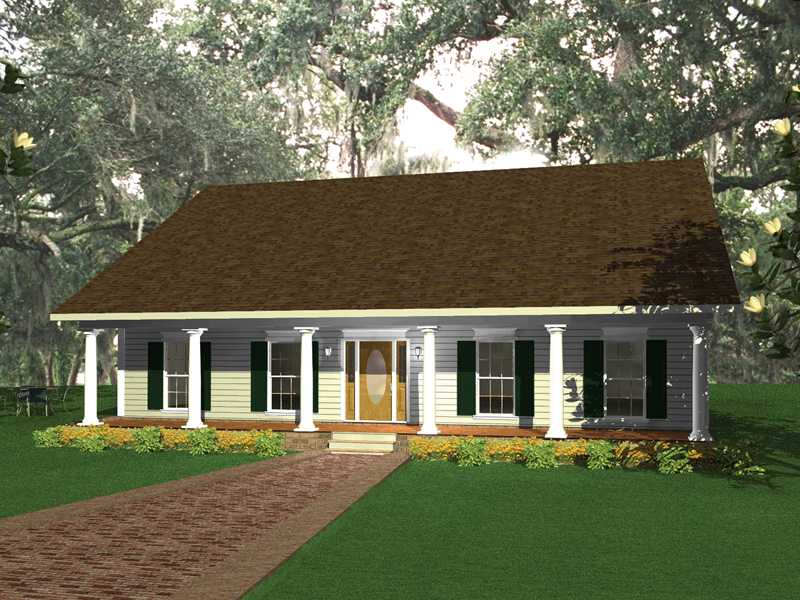 Ranch House Plan Front of Home 028D-0043
