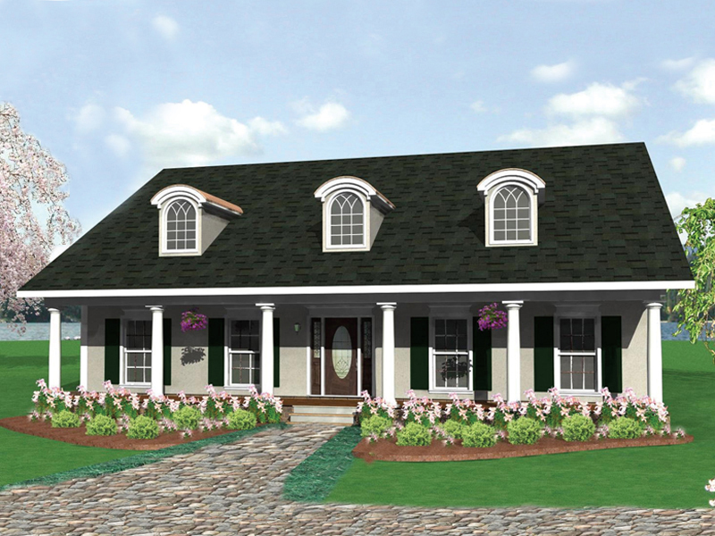 Colonial House Plan Front of Home 028D-0044