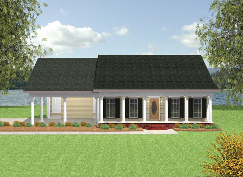 Ranch House Plan Front of Home 028D-0051