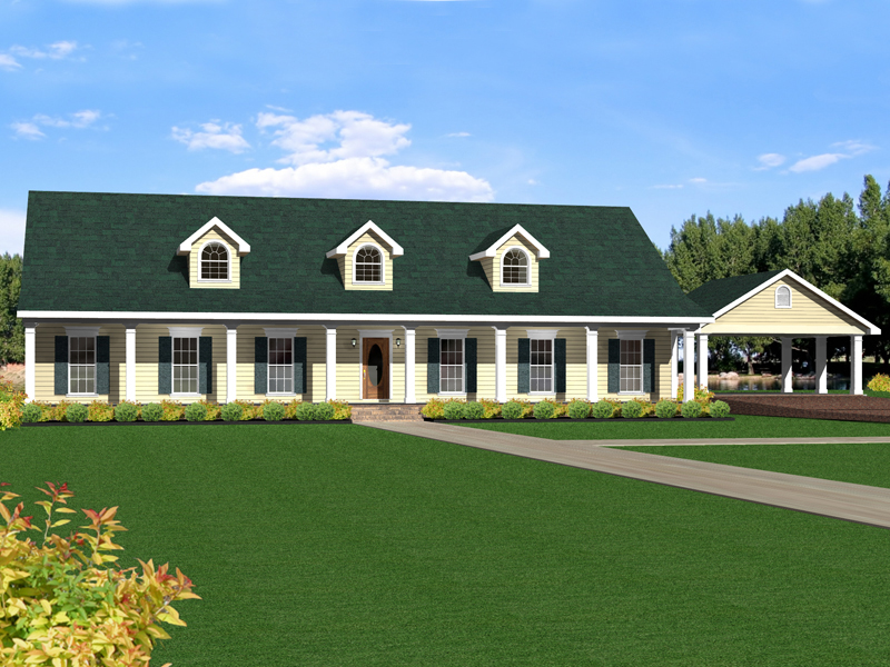 Ranch House Plan Front of Home 028D-0055