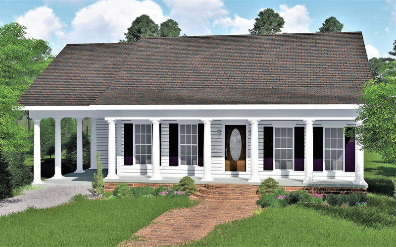 Ranch House Plan Front of Home 028D-0058