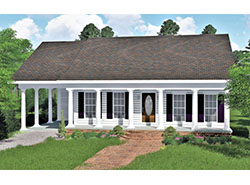 Front Color Rendering Of Ranch Home With Carport. ViewthisPlan