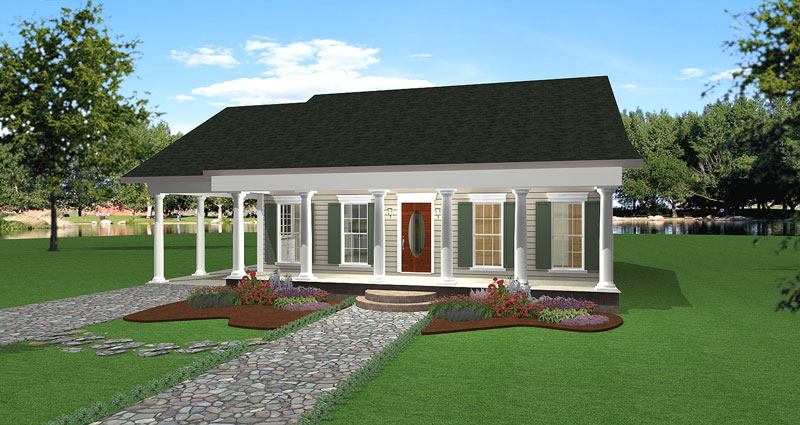 Colonial House Plan Front of Home 028D-0059