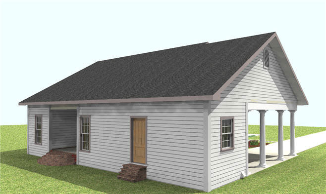 Ranch House Plan Side View Photo 02 028D-0059