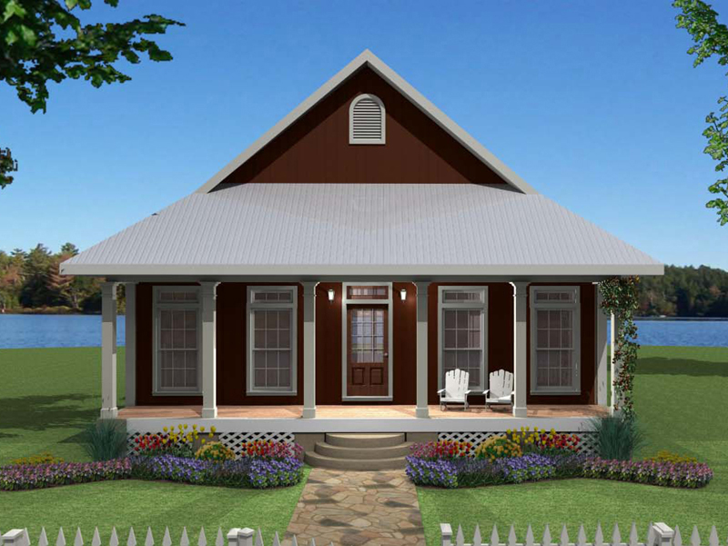 Lake House Plan Front of Home 028D-0065