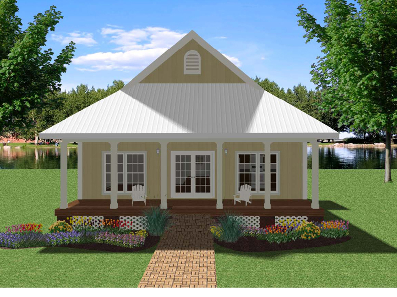 Lake House Plan Front of Home 028D-0066