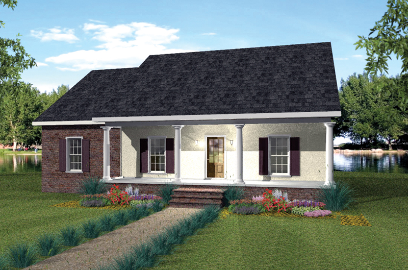 Ranch House Plan Front of Home 028D-0068