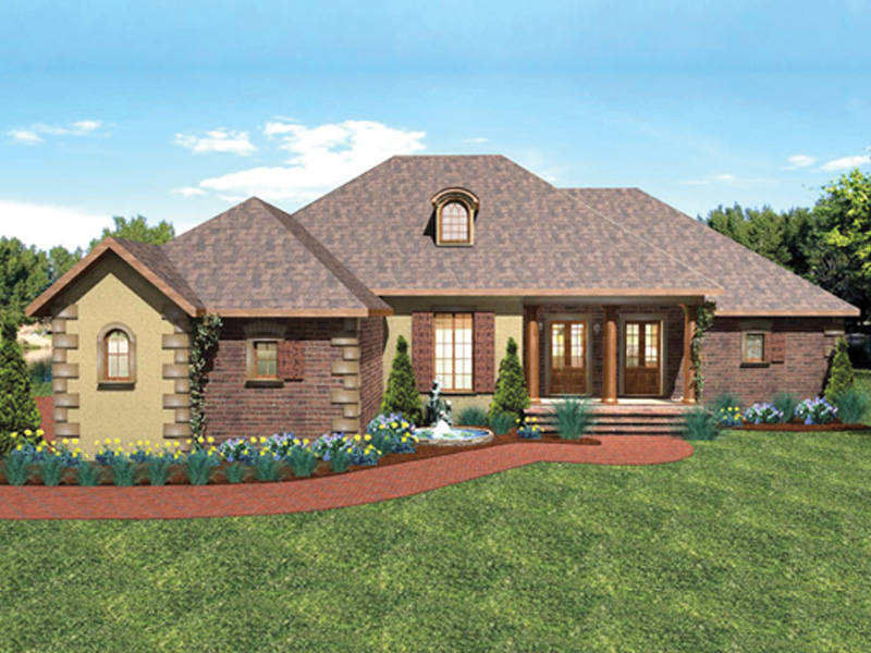 Country French Home Plan Front of Home 028D-0070