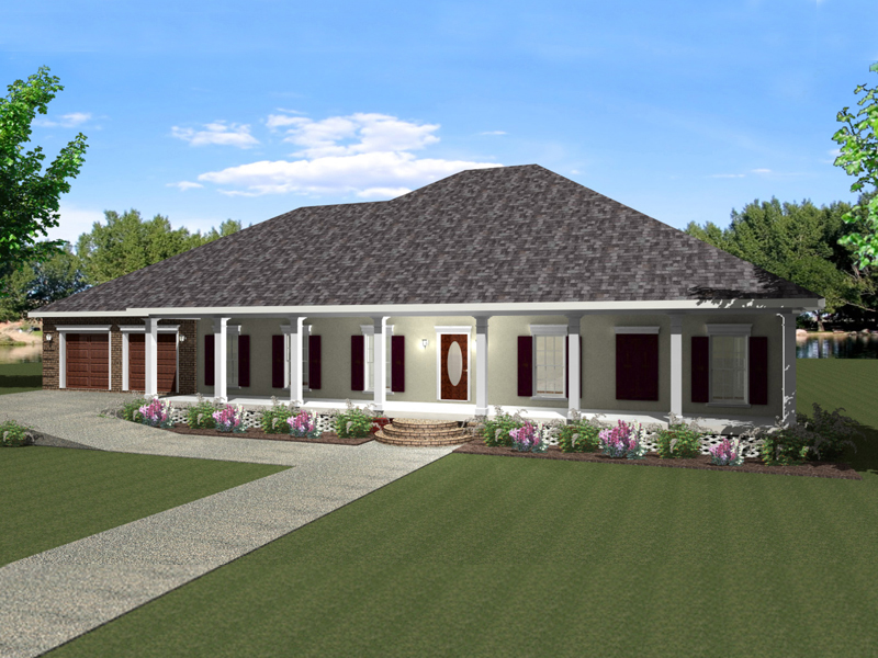 Linwood one story home plan 028d 0072 house plans and more for Single story house plans with front porch