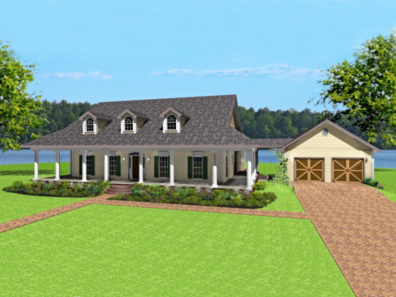 Dario country home plan 028d 0074 house plans and more for Single level home with wrap around porch