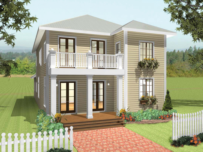 Colonial House Plan Front of Home 028D-0078