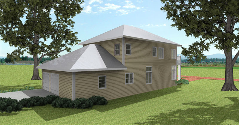 Farmhouse Home Plan Rear Photo 03 028D-0078
