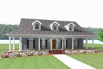 Covered Front Porch Surrounds Home's Façade