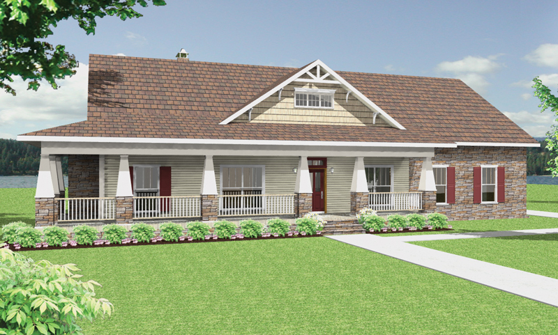 Craftsman House Plan Front Image - 028D-0087 | House Plans and More