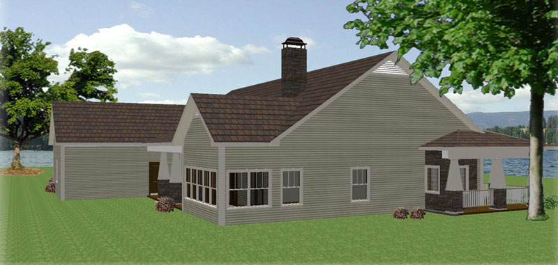 Ranch House Plan Side View Photo 02 028D-0087