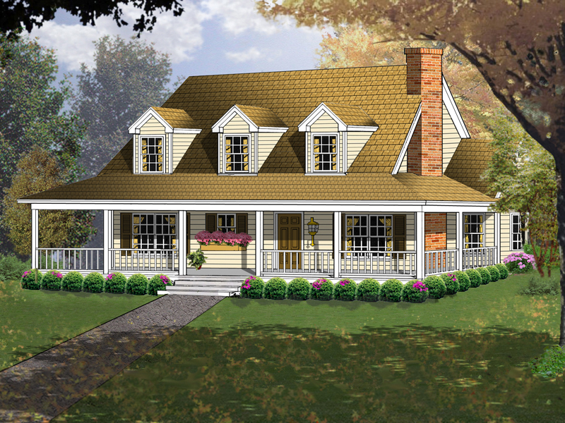 Triple Dormers And Wrap-Around Porch Accentuate This Home