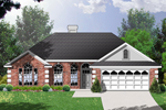 Large, Open Windows Balance Out Homes Brick Exterior