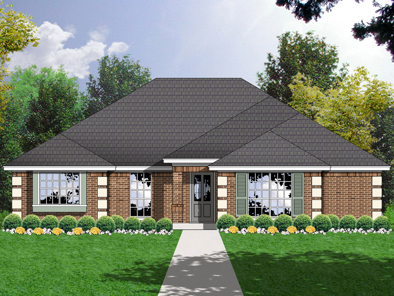 Formal, Brick Home Design With Decorative Quoined Moldings