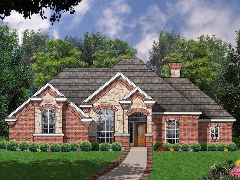 Stone Adds European Charm To This Brick Ranch Home