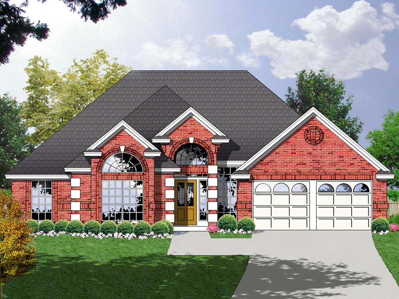 Striking Brick Ranch Has Decorative Corner Quoins And Arched Front Entry