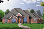 Traditional All Brick Ranch House With Massive Arched Windows Across The Front