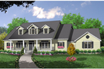 Traditional Farmhouse Style Home With Large Dormers And Covered Front Porch