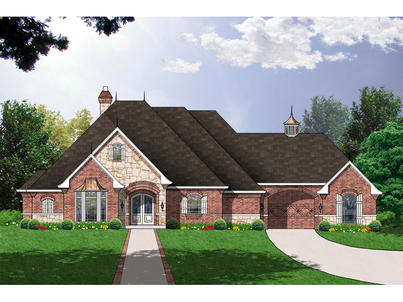 Country French Home Plan Front of Home 030D-0106
