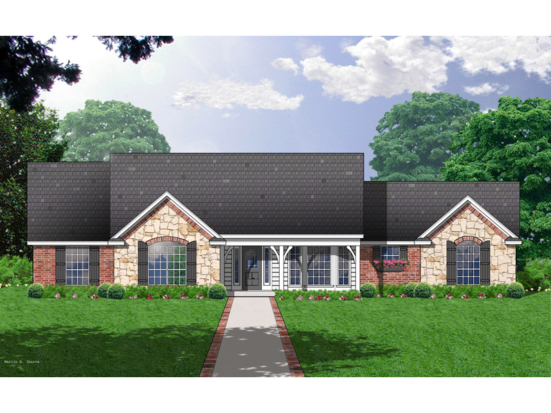 Stone And Brick Exterior Warm This Country Ranch Home Plan