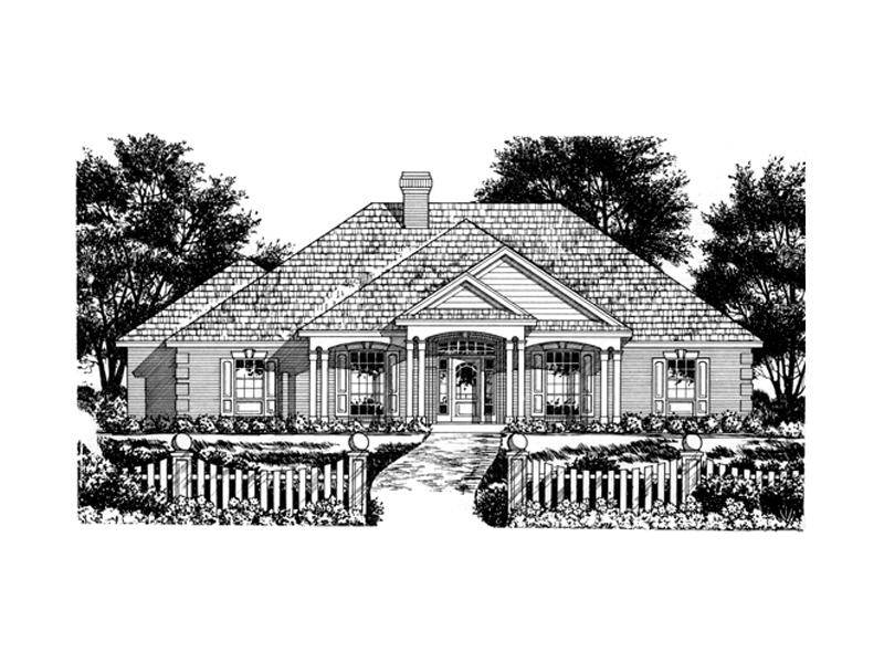 Columned Porch And Multiple Roof Lines Add Style And Excitement