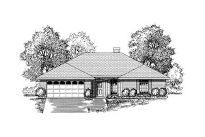 Ranch House Plan Front of Home - 030D-0230 | House Plans and More