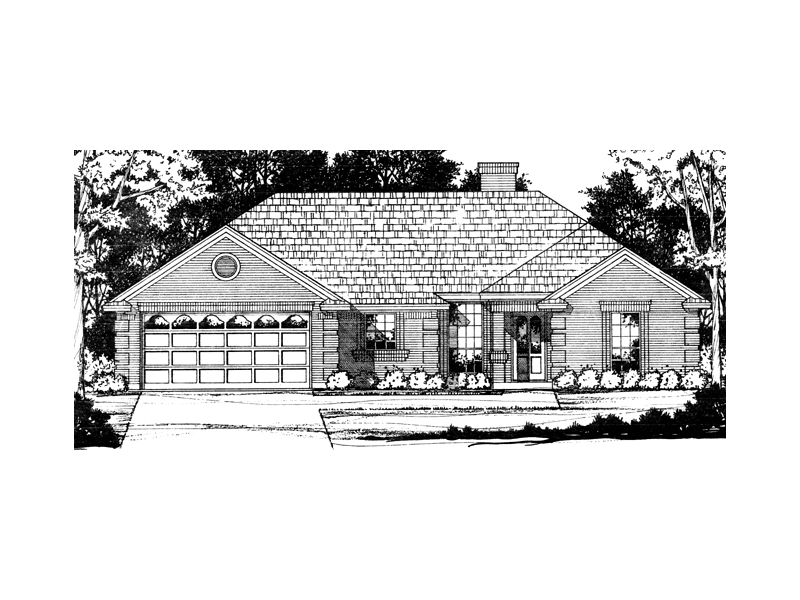 Ranch House Plan Front of Home - 030D-0233 | House Plans and More