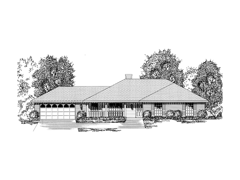 Ranch House Plan Front of Home - 030D-0237 | House Plans and More