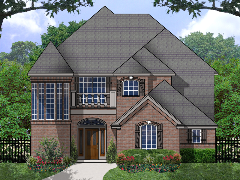 amazing brick turret with many windows is the focal point of this home - Brick English Home Plans