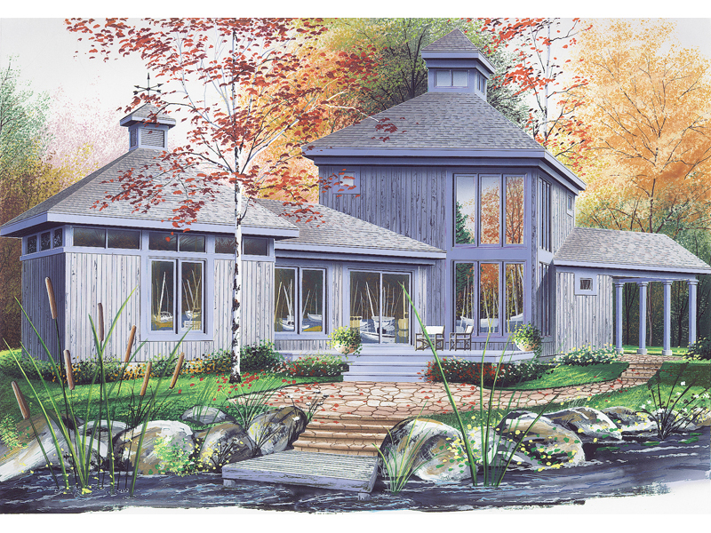 Vacation Home Plan Front of Home 032D-0031