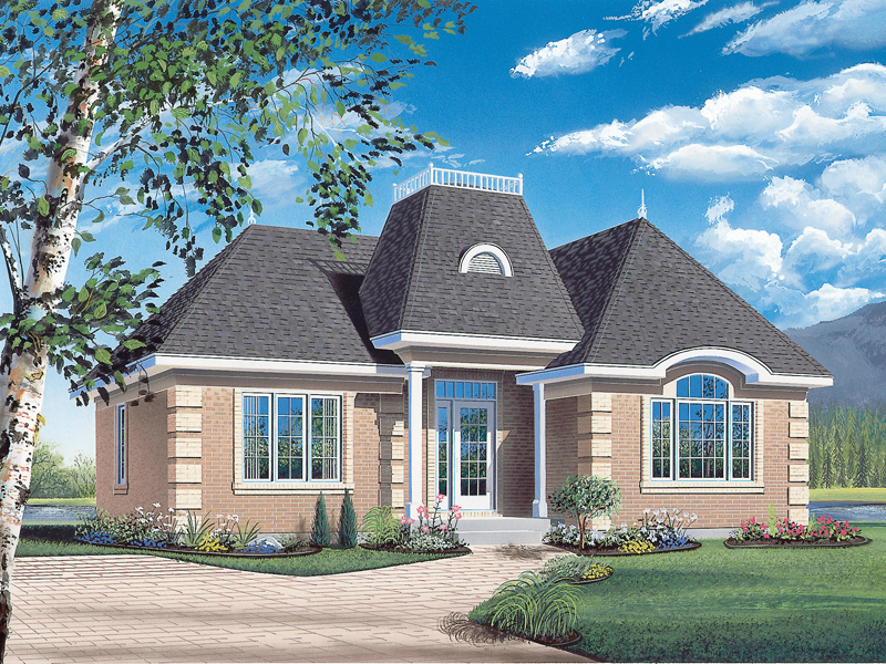 European Style And Corner Quoins Create This Eye-Catching Home Design