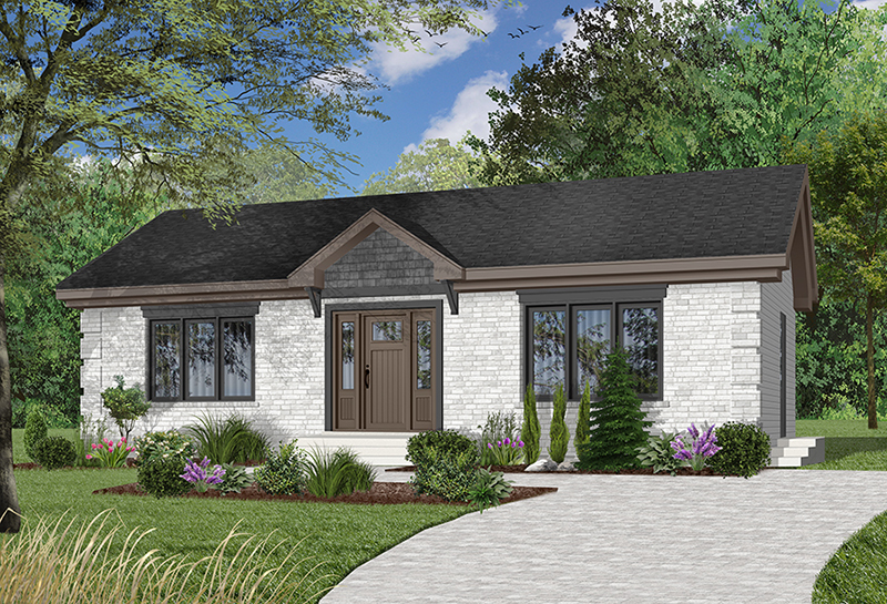 Simple Brick Ranch Home With Center Double French Door