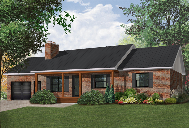 Ranch House Plan Front of Home - 032D-0119 | House Plans and More