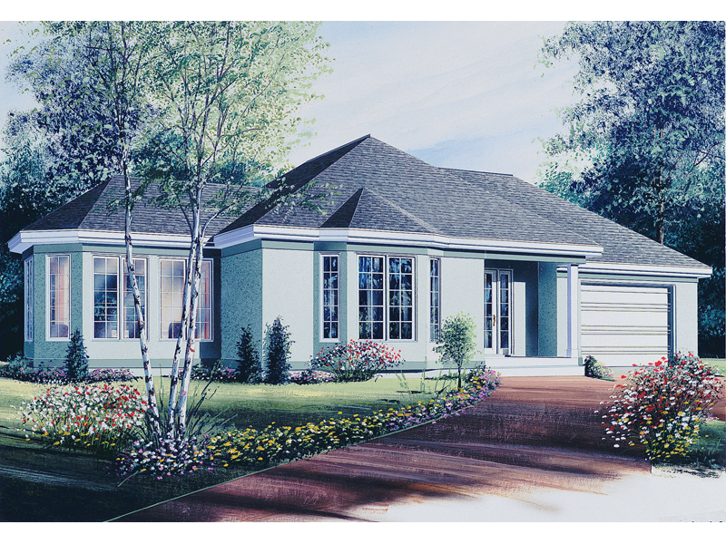 Ranch Style Home Complete With Stucco Façade